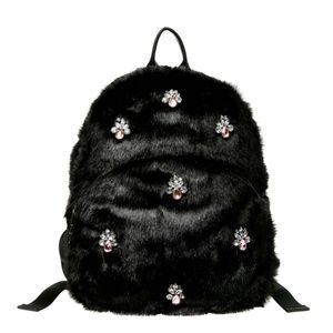 Betsey Johnson Bejeweled Fur Backpack Black